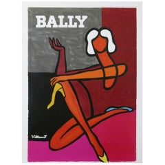 Vintage Poster Original Bally Pink, Villemot 1970 Fashion Art Design