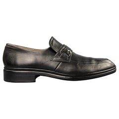 BALLY Size 10 Black Leather Slip On Loafers