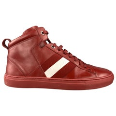 BALLY Size 10 Burgundy Leather White Webbing Stripe Hedern High Top Sneakers