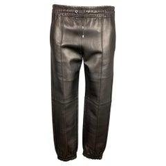 BALLY Size 30 Black Leather Elastic Waistband Casual Pants