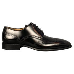 BALLY Size 7 Black Perforated Patent Leather Wingtip Lace Up Shoes