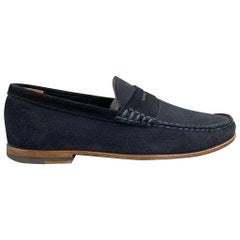 BALLY Size 7.5 Navy Suede Slip On Loafers