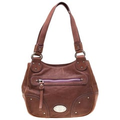 Bally Tan Leather Zippered Pocket Hobo