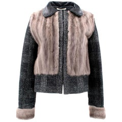 Bally Tweed Jacket with Mink Fur Body and Sleeves estimated SIZE L