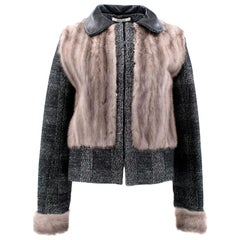 Bally Tweed Jacket with Mink Fur Body and Sleeves - Size Large