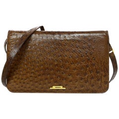 Bally Vintage Brown Ostrich Crossbody/Clutch Bag