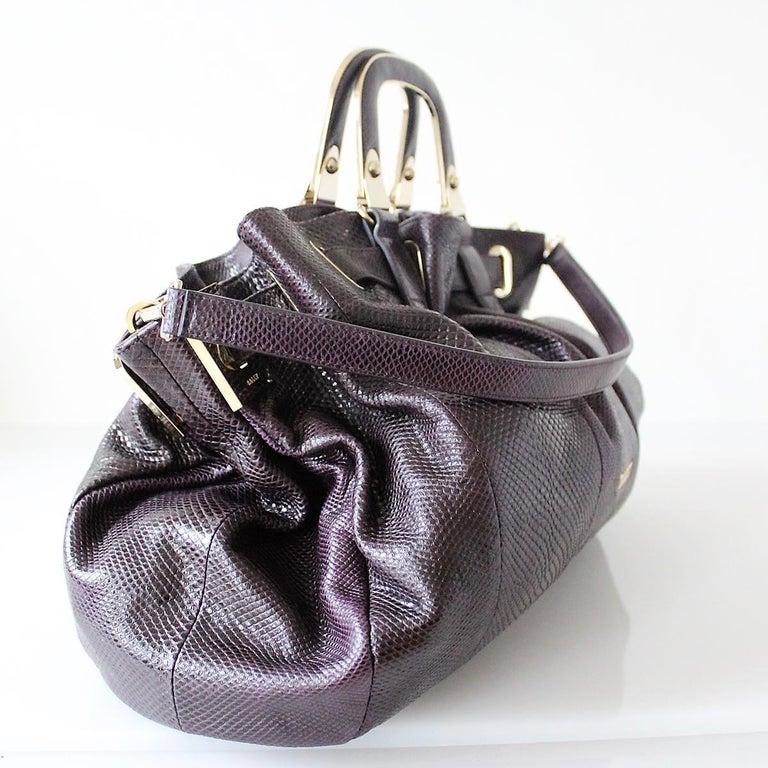 Black Bally Violet Lizard Bag For Sale