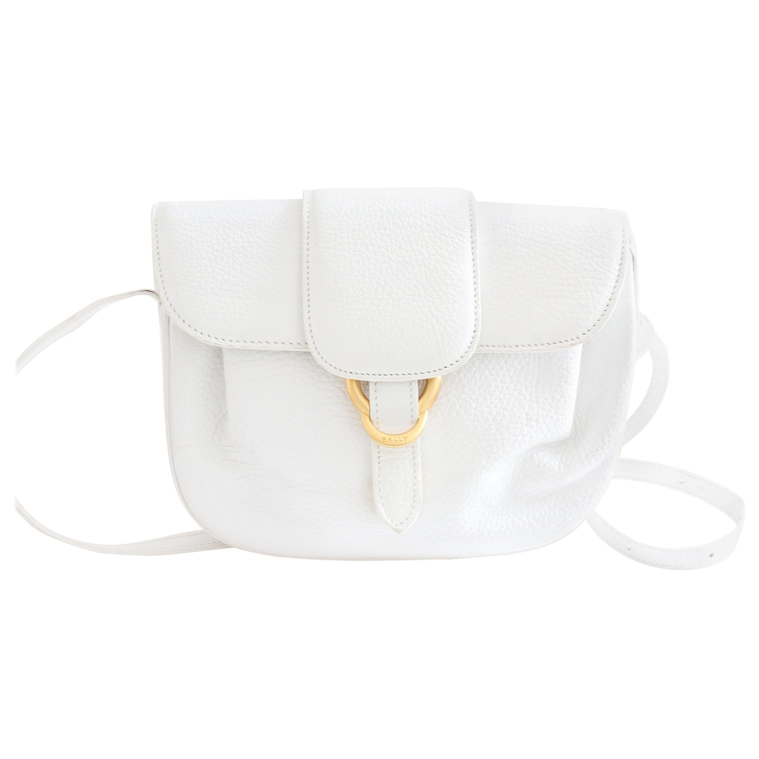 Bally White Pebbled Leather Top Flap Crossbody Shoulder Bag Italy