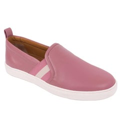 Bally Womens Henriks Pink Leather Pull Slip On Sneakers