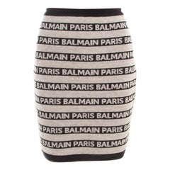 Balmain Beige and Black Jacquard Logo Knit Striped Bodycon Skirt M