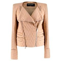 Balmain Beige Quilted Cotton Jacket - Size US4