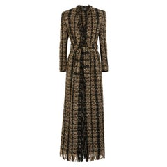 Balmain Belted Metallic Bouclé Tweed Coat
