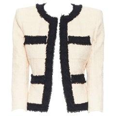 BALMAIN bicolour soft pink black boxy shoulder padded weaved tweed jacket FR36 S