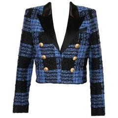 Balmain Black and Blue Tweed Jacket