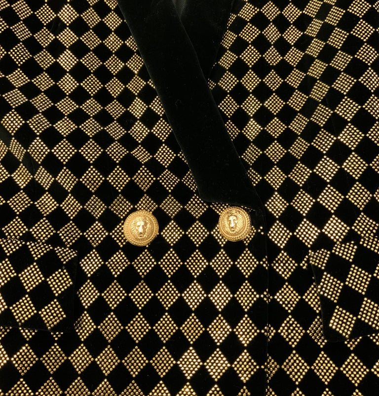 Balmain Black and Gold Tone Double-Breasted Blazer In Excellent Condition For Sale In Geneva, CH