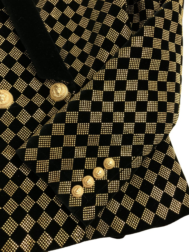 Women's Balmain Black and Gold Tone Double-Breasted Blazer For Sale