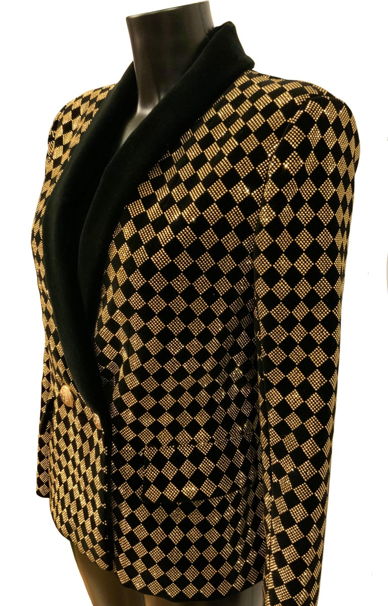 Balmain Black and Gold Tone Double-Breasted Blazer For Sale 1