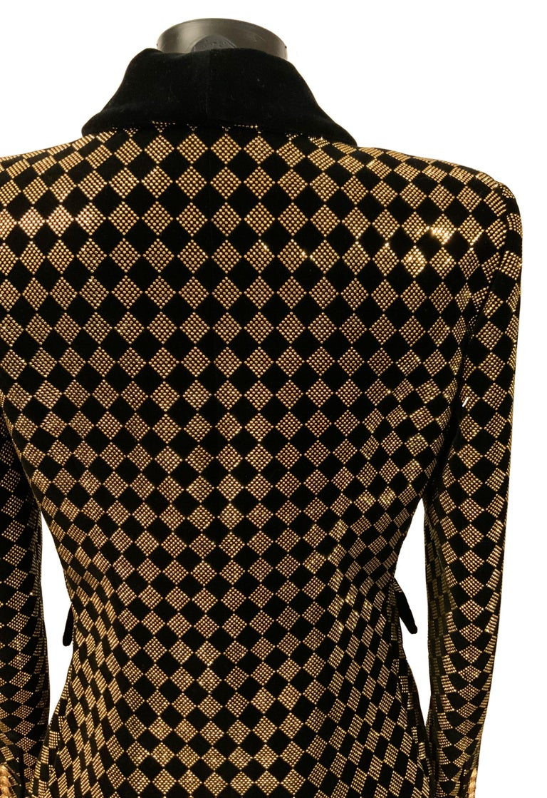 Balmain Black and Gold Tone Double-Breasted Blazer For Sale 2