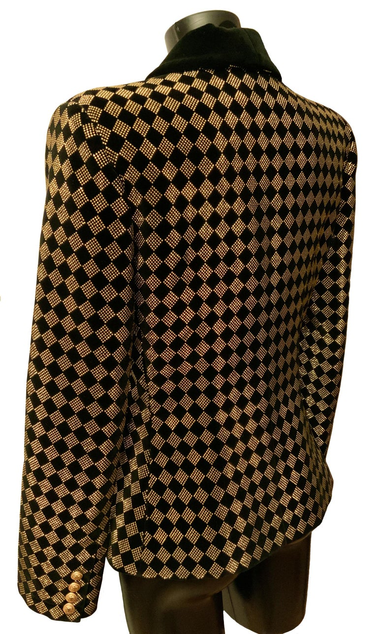 Balmain Black and Gold Tone Double-Breasted Blazer For Sale 3