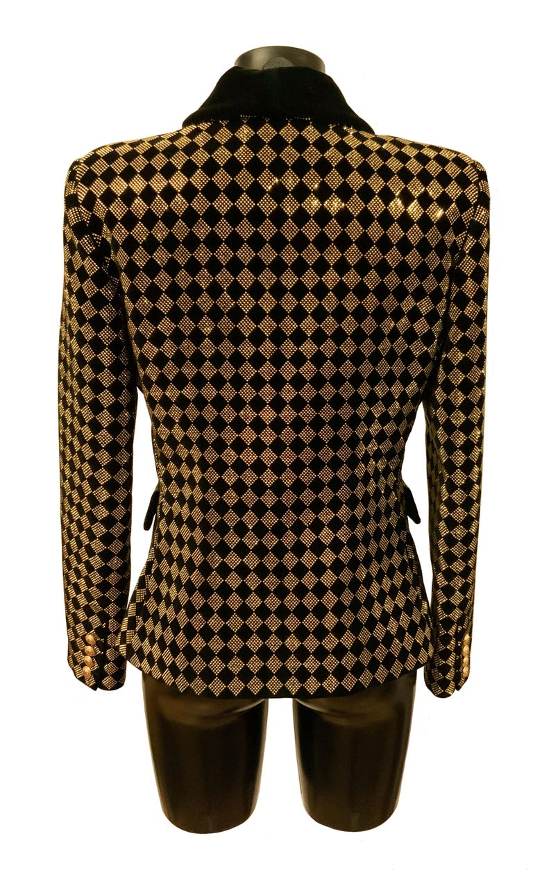 Balmain Black and Gold Tone Double-Breasted Blazer For Sale 4