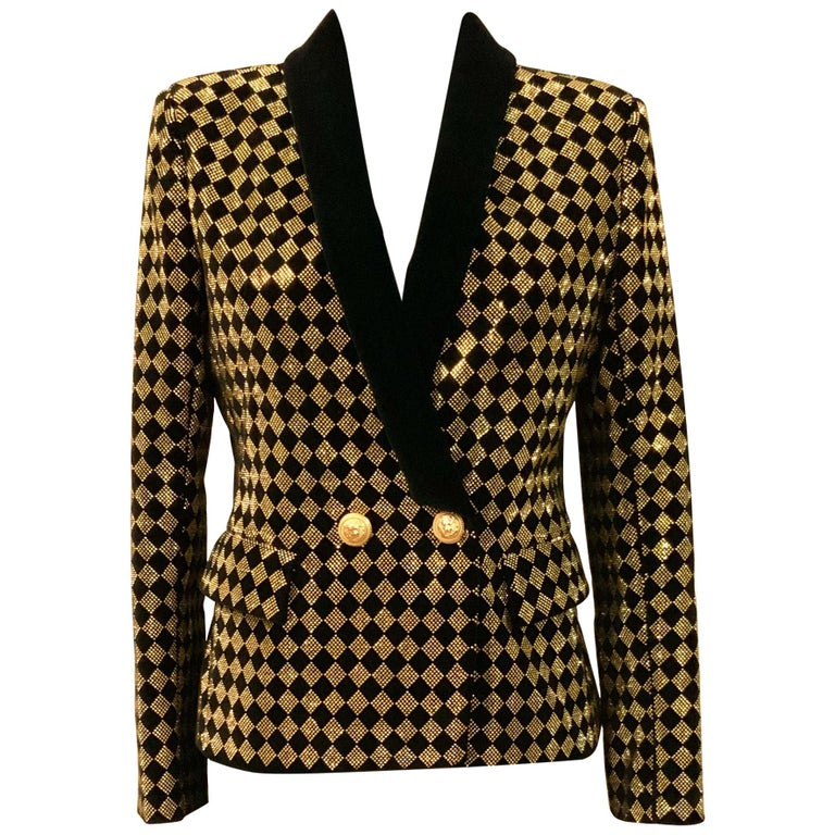 Balmain Black and Gold Tone Double-Breasted Blazer For Sale