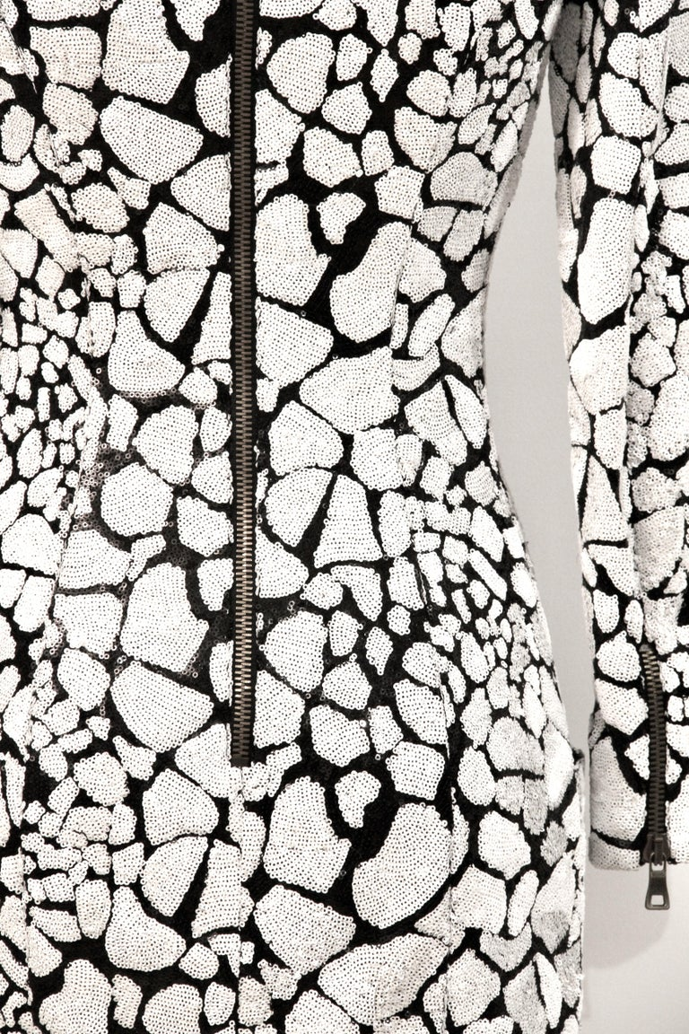 Gray Balmain Black and White Sequin Dress For Sale