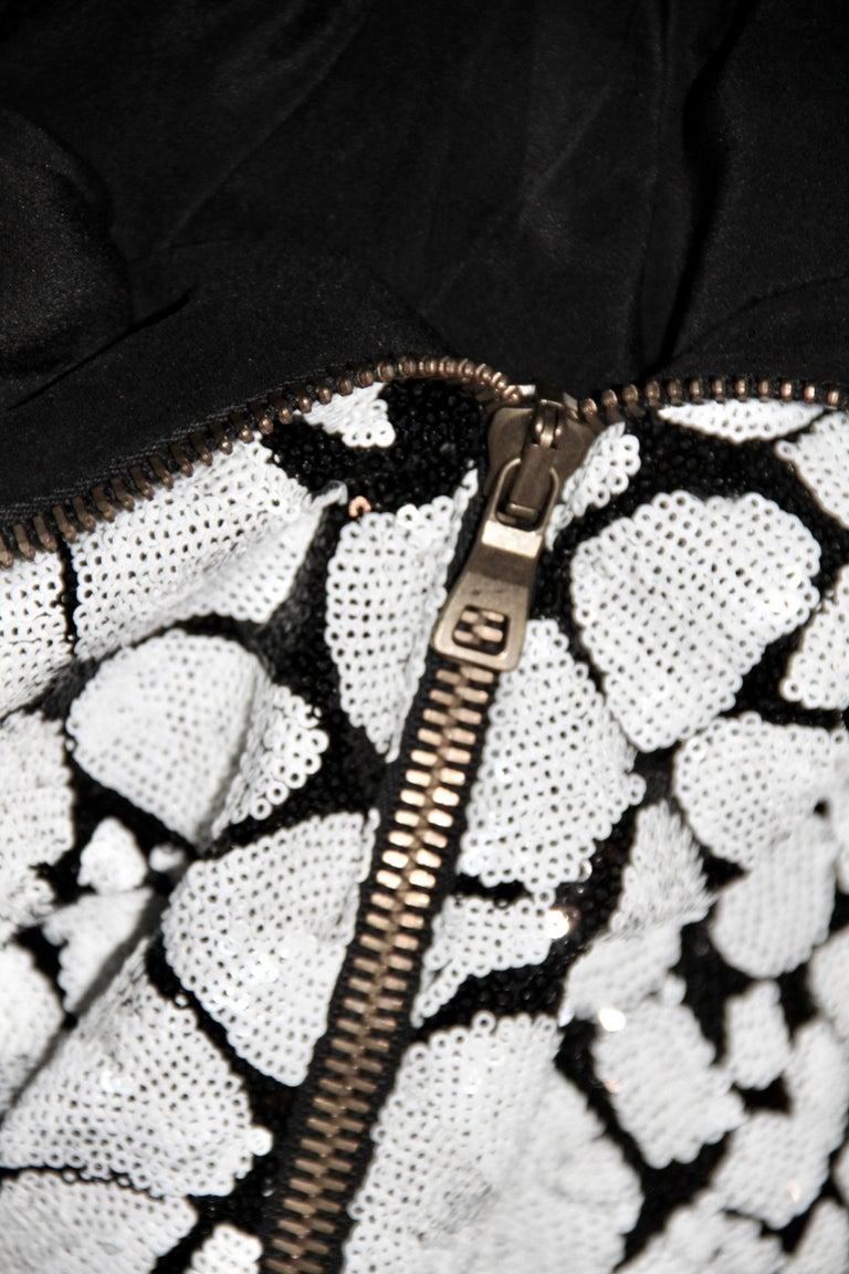 Women's Balmain Black and White Sequin Dress For Sale