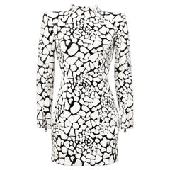 Balmain Black and White Sequin Dress