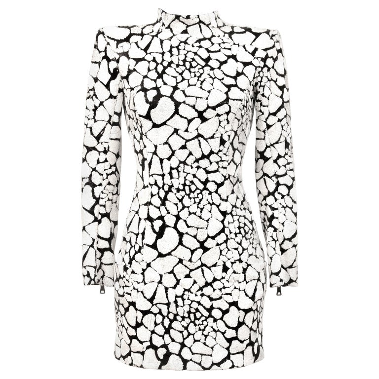 Balmain Black and White Sequin Dress For Sale