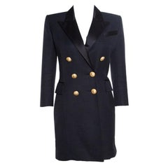 Balmain Black Basket Weave Satin Lapel Detail Coat Dress S
