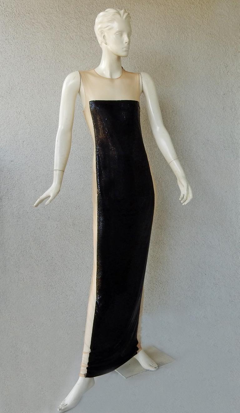 Women's  Balmain Black Chain Mail Evening Dress Gown New   For Sale