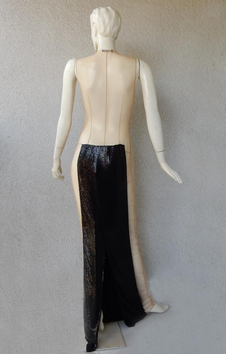 Balmain Black Chain Mail Evening Dress Gown New   For Sale 2