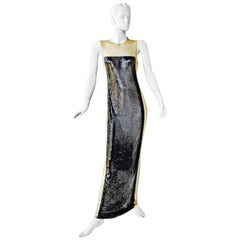 Balmain Black Chain Mail Evening Dress Gown New