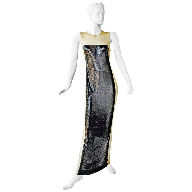 Balmain black chain-mail evening gown, 21st century