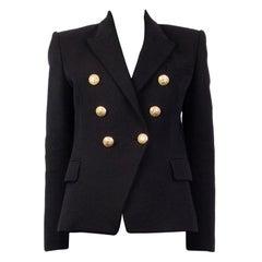 BALMAIN black cotton SIGNATURE DOUBLE BREASTED Blazer Jacket 38
