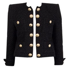 BALMAIN black cotton TWEED CROPPED OPEN Blazer Jacket 40 M