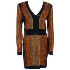 Balmain Black Crystal Embellished Fitted Mini Dress L