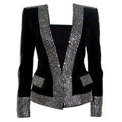 Balmain Black Crystal Embellished Velvet Tailored Power Shoulder Blazer M
