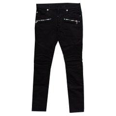 Balmain Black Denim Logo Embroidered Biker Jeans S