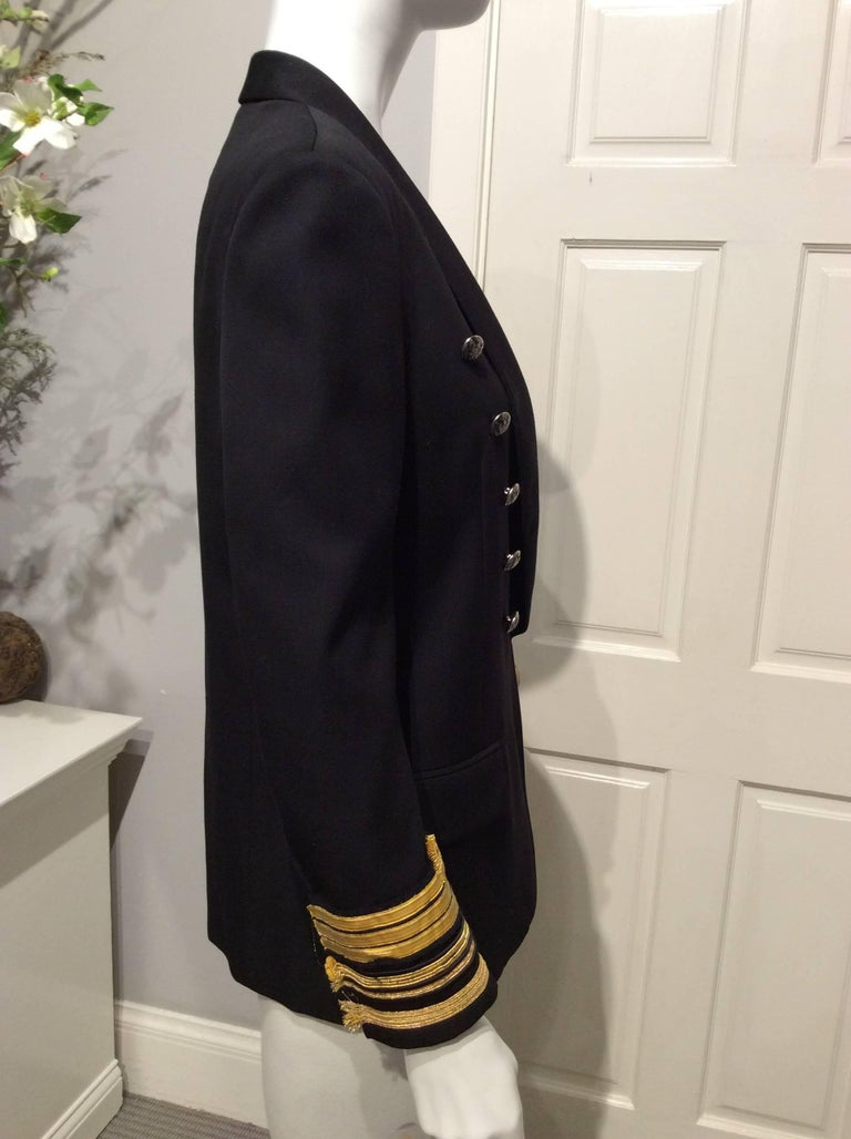 Balmain Black Double-breasted Uniform Inspired Jacket With Gold Trim Sz 38 (Us6) In Excellent Condition For Sale In San Francisco, CA