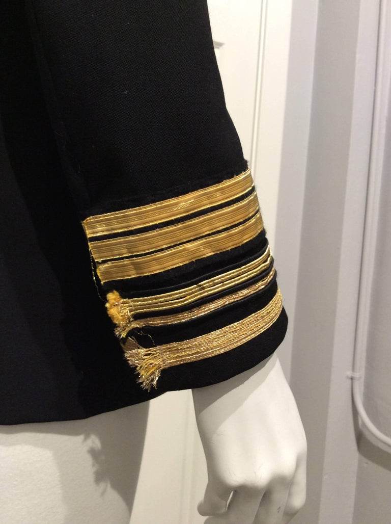 Balmain Black Double-breasted Uniform Inspired Jacket With Gold Trim Sz 38 (Us6) For Sale 1