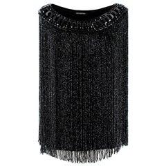 Balmain Black Embellished Fringed Silk Top 40