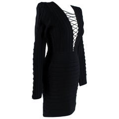 Balmain Black Fitted Lace-Up Mini Dress - Size US 4