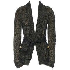 BALMAIN black gold metallic mixed knit engrave button belted long sleeve FR34 XS