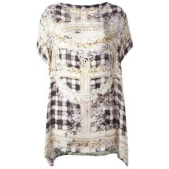 Balmain Black & Gold Printed Silk Dress Tunic