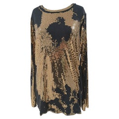 Balmain Black Gold Sequins Dress