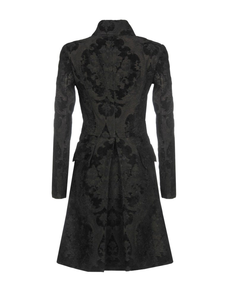 BALMAIN Black Jacquard Brocade Military Coat 36 FR NEW Retailed  $18,020 For Sale 1