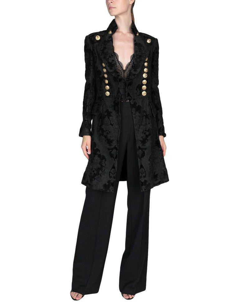 BALMAIN Black Jacquard Brocade Military Coat 36 FR NEW Retailed  $18,020 For Sale 2