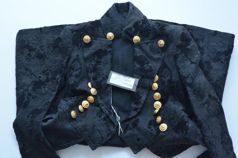 BALMAIN Black Jacquard Brocade Military Coat 36 FR NEW Retailed  $18,020 In New Condition For Sale In Hollywood, FL