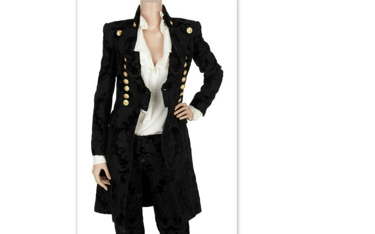 BALMAIN Black Jacquard Brocade Military Coat 36 FR NEW Retailed  $18,020 For Sale 3